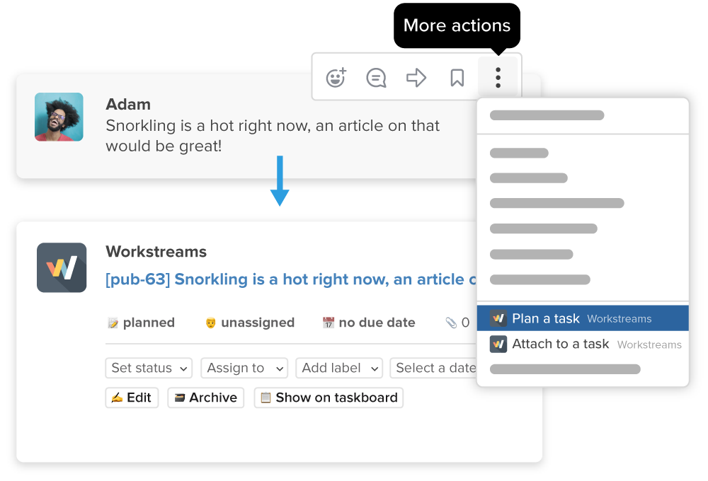 Workstreams showing how to turn a message into a task