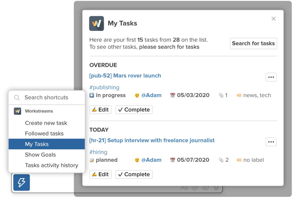Workstreams showing my tasks